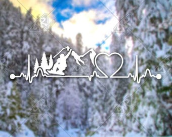 DECAL [Heartbeat Snowboarding v1] Vinyl Decal, Bumper Sticker, Car Window Decal, Car Decal, Laptop Decal, Phone Decal, Water Bottle Decal