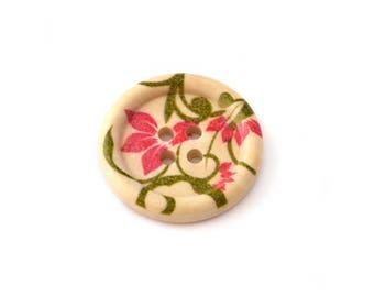 22 mm pink flower pattern wooden button