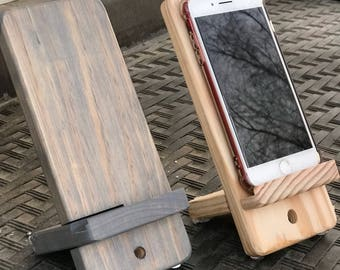 Wood Phone Stand - Handmade - iphone & Android - Charger Holder