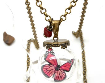 Necklace glass red Butterfly bead spun