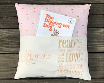 Pocket Reading Pillow-Reading Pillow-Book Pillow-Childrens Easter Gift-Childrens Birthday Gift-Kids Easter Gift-Kids Birthday Gift