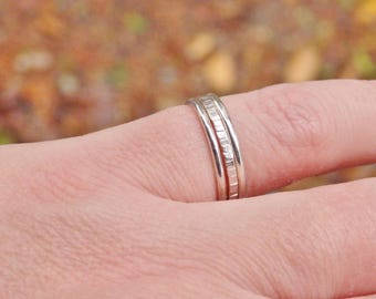 Set of Three Sterling Silver Stacking Rings, Stackable Rings, Minimalist Jewellery, Recycled Silver