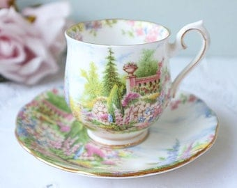 Vintage Royal Albert tea cup and saucer, Kentish Rockery, vintage teacup, ladysize, collectible.