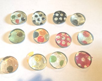 Polka Dot Glass Flat Dome Marble Magnets You  Pick Color and Amount Mix and Match