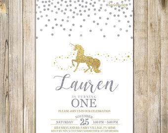 MAGICAL GOLD UNICORN Birthday Invitation, Gold Silver Confetti Unicorn Party Invite, Girl 1st Birthday, Magical Pony Horse First Birthday