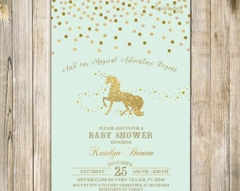 MINT UNICORN BABY Shower Invitation, Gold Confetti Unicorn Invite, Fantasy Unicorn Baby Girl Shower, Horse Pony, Magical Adventure Begins