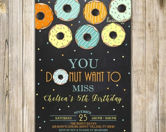 CHALKBOARD DONUT Birthday Invitation, Orange Yellow Blue Breakfast Birthday Invite, Girl 10th Birthday, Donut & Pajamas, Donut Want to Miss