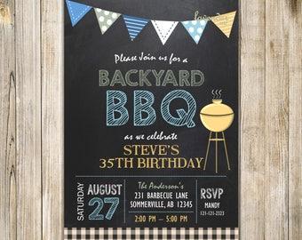 SUMMER BACKYARD BBQ Invitation, Blue Yellow Men Birthday Barbecue Invite, Surprise Women Barbecue Shower, I do Bbq, Housewarming, Digital