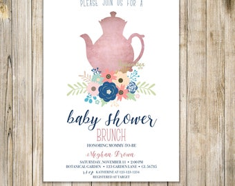 BABY SHOWER TEA Party Invitation, Floral Baby Shower Tea Invite, Printable Baby Shower Brunch, High Tea Shower, Baby is Brewing Luncheon