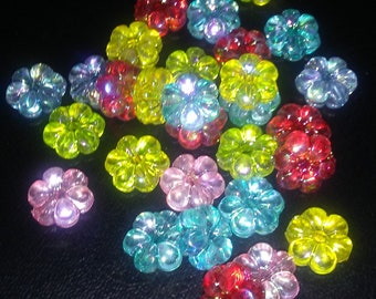 One set of 15, acrylic flower, multicolored, beads, free shipping