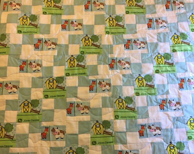 Baby Crib Quilt, John Deere Inspired Cotton Fabric, Handmade