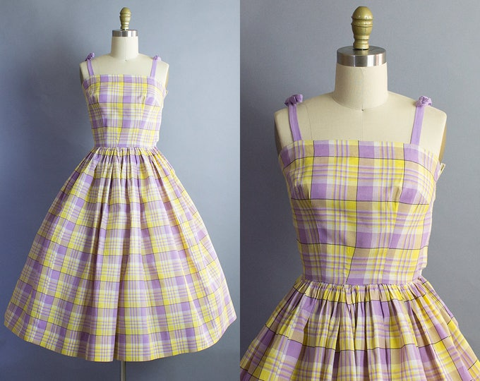 1950s Plaid cotton Sundress/ 50s cotton gingham check dress/ XXS (31b/21w)