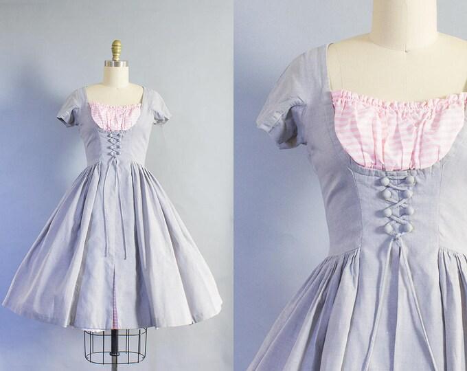 1950s Corset Cotton Dress/ Small (35B/26W)