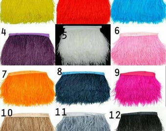 1 Yard Ostrich Plume Feather Fringe Trim Strip Natural Goose Feather Trimming High Quality Clothing Making 8-10cm