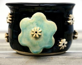 SALE Hand Thrown Pottery Flower Candle Holder Hold desk supplies  teenage bedroom teen gift Dorm room  Flower Power