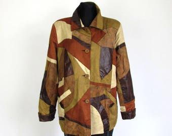 Vintage 80's 90's Brown Camel Beige Patchwork Soft Leather Suede Jacket Shirt Boho Hippie Size L XL