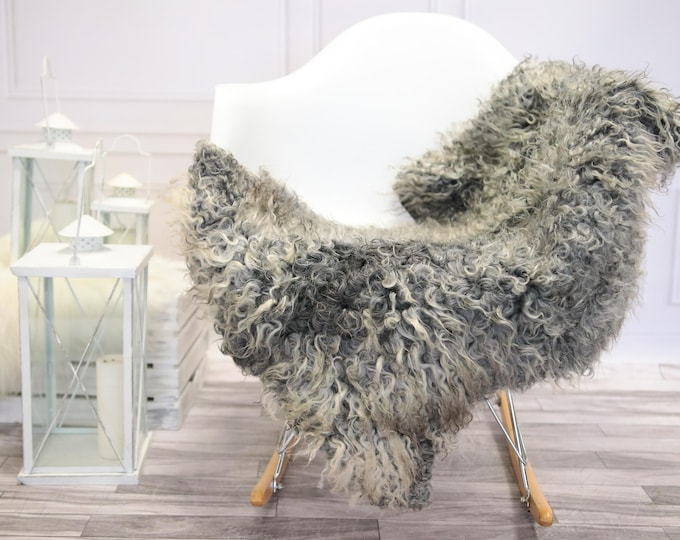 Genuine Rare Gotland Sheepskin Rug - Curly Fur Rug - Natural Sheepskin - Gray  Sheepskin #DECGOT4