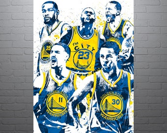Golden State Warriors Basketball Poster, Stephen Curry, Draymond Green, Kevin Durant, Klay Thompson, Andre Iguodala, Sports Art, Kids Decor