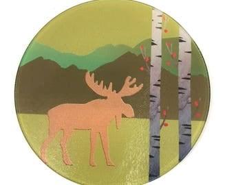 Moose, Aspen Mountain scene ,Rocky Mountain Moose, Wildlife Decor , Cheese Board , Glass Cutting Board