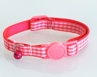 GINGHAM HOT PINK - Small Pink and White Cat or Dog Collar