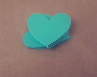 Teal Heart Die Cuts various sizes 10 pieces