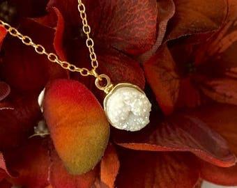 White Druzy Pendant Necklace