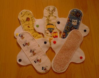 "Set of 5 budget 8"" washable, reusable 100% cotton/brushed cotton cloth pantyliners"