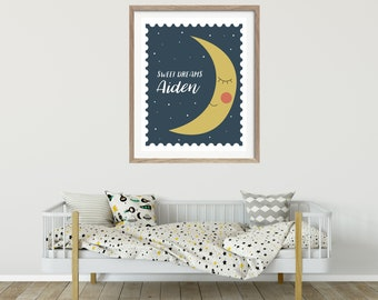 Scandinavian Kids Art - Moon Print - Personalized Kids Art - Scandinavian Design - Moon Art Print