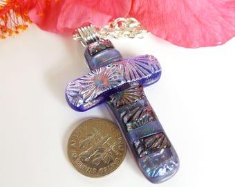 Chunky purple and blue dichroic Cross pendant. Large purple, fused glass cross.  Christian jewelry. Dichroic Cross necklace.  BOHO Cross