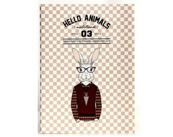 Hello Animals 03 | Glasses Rabbit