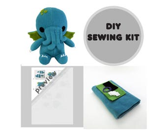Cthulhu Sewing Kit, DIY Stuffed Monster, Plush Sewing Kit, Cthulhu Kit, DIY Cthulhu, Monster Sewing Kit, DIY Cthulhu Kit, Plush Toy Kit