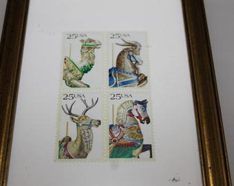 4 Animal Stamps, Framed and Matted, Vintage, Camel, Horse, and Deer, on the Stamps, 25 Cents Each, Collectibles, Collection, Old Frame
