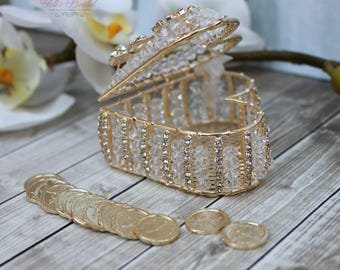 FAST SHIPPING!! Elegant and Sparkling Arras, Arras de Boda, Wedding Coins, Wedding Unity Coins, Arras para boda, Gold Heart Treasurer Chest