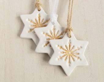3 Clay Star Christmas Decorations, White Clay Snowflake Christmas Tree Decoration, Hanging Ornament, Stocking Filler, Handmade Artisan Xmas
