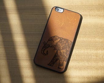 Elephant Engraved On Cow leather, Leather phone case, laser engraved leather case