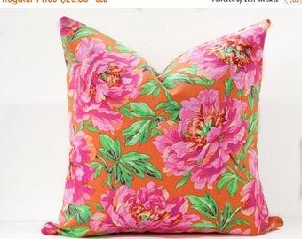 Sale Orange pillow cover - Floral pink pillow - Pink and Orange pillow - Bright pink pillow - Peony pillow - Rose Pillow - Decorative Pillow