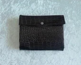 glitter and Black Snake leatherette portfolio