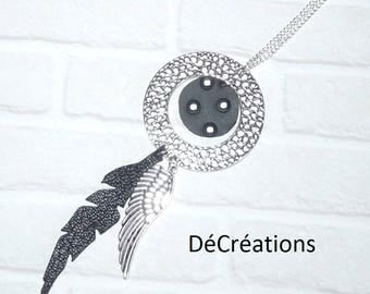 Leaf necklace long silver circle, black leather, leather black polka dots and wing