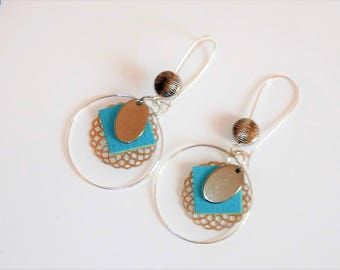 Earrings ' sleepers earrings silver turquoise leather and rosette hoop
