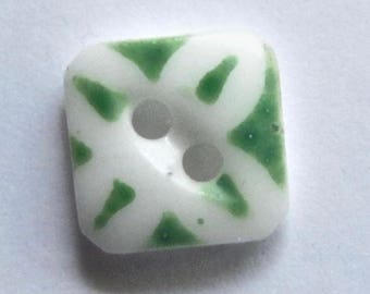 Square Green Stenciled China Button