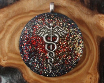 Caduces Crystal Orgone Energy Chakra-Tuning 40mm Unisex Pendant Necklace Healer Herald's wand Serpents Hermes Mercury Doctor Red Gold Silver