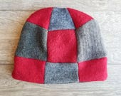 Adult Wool Hat // Fleece lined wool hat // Upcycled Sweater Hat // Warm beanie // Red and Gray