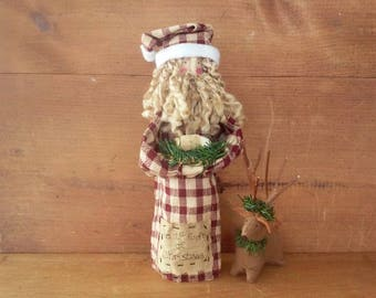 Primitive Santa Nativity with Reindeer and Baby