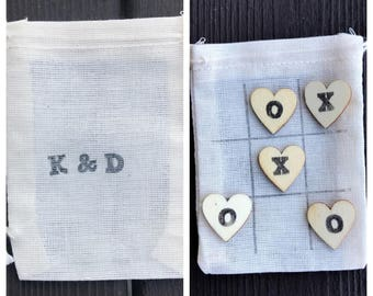 Mini tic tac toe - quiet game - wedding favors - guest gifts - reception game favors - wooden hearts