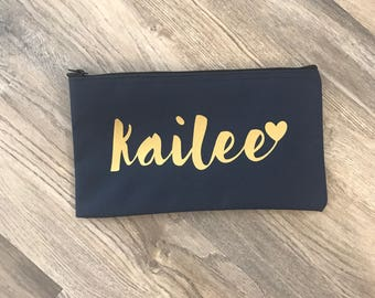 Personalized makeup bag - pouch - bridesmaid bag - bridesmaid gift