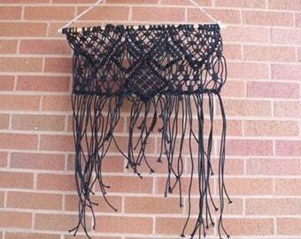 Black cotton macreme wall hanging