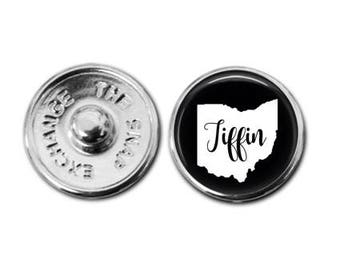 Tiffin jewelry, Tiffin Charm, Tiffin Ohio, Ohio charm, Ohio map, Tiffin map, map jewelry, map charm,  snap jewelry, snap charm