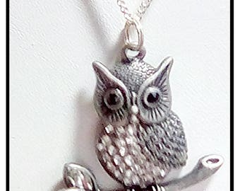 Owl Pendant On A Silver Plated  Chain