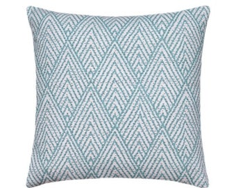 SALE Lacefield Tahitian Stitch Decorative Pillow Cover, Modern Throw Pillow, Designer Pillow Cover, Horizon Blue Geometric Decorative Pillow