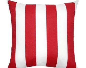 SALE Striped Outdoor Pillow Cover - Red Pillow - Red White Pillow Cover - Vertical Stripe Red Pillow - Striped Patio Pillow - Red Deck Pillo